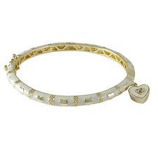 Gold Plated White Enamel CZ Hearts Kids Girls Bangle Charm Bracelet 57 mm