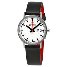 Mondaine Railways Classic White Dial Black Leather Ladies Watch A6693000811SBO