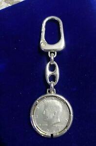PORTACHIAVI + MONETA DA MEZZO DOLLARO KENNEDY ARGENTO diametro 30,6 mm