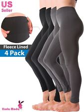 4-Pack Warm Fleece Lined Thick Brushed Full Length Leggings Winter Thermal Pants