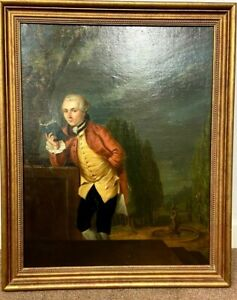 18th Century Oil On Panel Country Gent In A classical Garden
