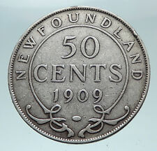 1909 CANADA Newfoundland Antique Silver 50 Cents Coin UK King Edward VII i80982