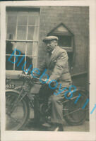Man On His Motorcycle 1920's Reg number HP5935 Suit & Cap 3.25 x 2.25 inches