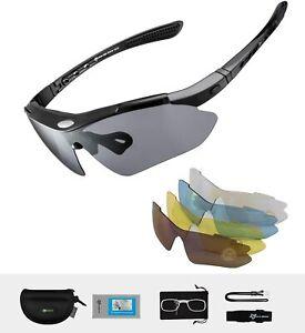 ROCKBROS Sportbrille Polarisierte Sonnenbrille Radbrille Radsport Brille Schwarz