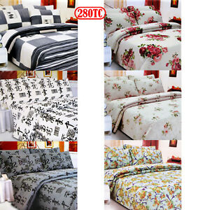 3 Pce - 280TC Easy Care Polyester Cotton Printed Quilt Cover Set - QUEEN KING