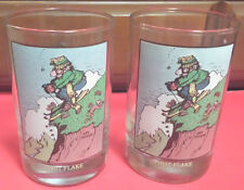 "Skiing Humor ""First Flake"" by Gary Patterson- 2 Collector Glasses Vintage 1982"