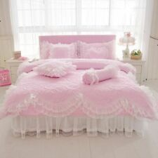 Cotton Quilted Bedding Set Thick Warm Soft Princess Skirt Bedroom Home Linen New