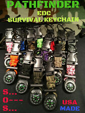 Paracord EDC Survival Keychain Flint Rod / 550 Fire Cord / Compass / Whistle USA