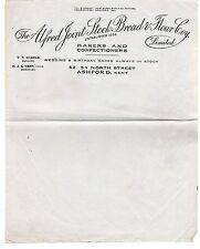 Alfred Joint Stock Bread & Flour Coy Ashford Kent - Letter c1910