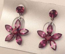 clous pampille fleur cristaux mauve couleur argent pour oreilles percées 5361
