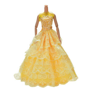 """1 Pc Yellow Handmade Wedding Lace 4 Layers Dress for 11"""" .fr"""