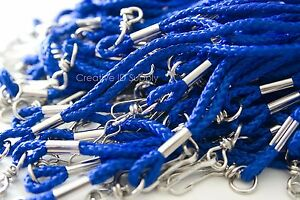 100 PCS NEW ROPE ROUND ID NECK LANYARDS WITH SWIVEL J HOOK - ROYAL BLUE COLOR