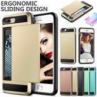 For Apple iPhone 7 & 8 plus X Xr Card hybrid wallet tough hard strong case cover