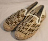 SARA ~ Cream Leather Circles Lattice Punch Out Design Flat Espadrille Shoes 12W
