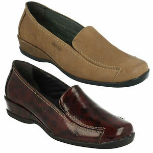 SUAVE LADIES SLIP ON ELASTIC GUSSET LEATHER COMFORT WIDE FIT LOAFER SHOES MARIA