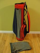 Vintage Miller Carry Lite Golf Bag Blue Red Gray 4 Pocket w/rain cover USA