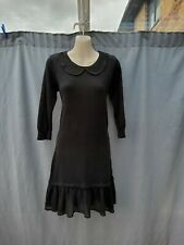 Dorothy perkins Black Peter Pan Collar Knitted Frilly Tunic Jumper Dress 10