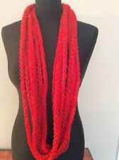 Bright red Lagenlook Crochet Multistranded Braided Samson Scarf Necklace S217