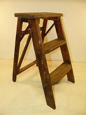 Vintage Wood 3-Step Folding Ladder/Stool/Stepstool INV12665