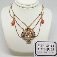 Victorian Art Nouveau Coral Seed Pearls Diamond 9ct Gold Chain Necklace c1890 UK