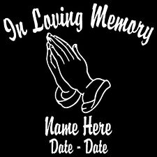 "In Loving Memory w/Praying Hands Personalized Decal 5.5""H"