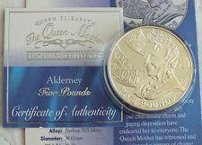 ALDERNEY 2000 £ 5 Regina Madre CENTENARIO ARGENTO PROOF Crown-COA/INFO SHEET