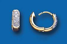 Men's Earring Diamond Huggie 9 Carat Yellow Gold Gents Hoop Real Diamonds