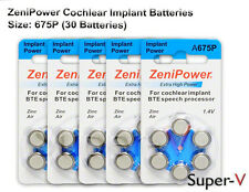 Cochlear Implant Batteries by ZENIPOWER SIZE 675P  30 Batteries Total