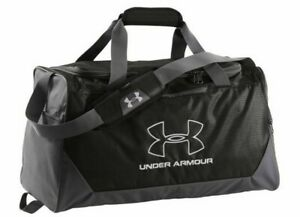 UA UNDER ARMOUR HUSTLE DUFFEL BLACK GYM BAG WET DRY SHOE POCKET WATER RESIST NEW