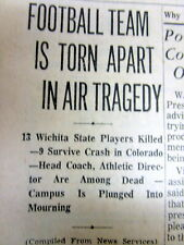 1970 newspaper w WICHITA STATE UNIVERSITY football team airplane crash DISASTER