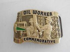 BELT BUCKLE OIL WORKER COMMEMORATIVE 1984  SOLID BRASS BARON MAKER