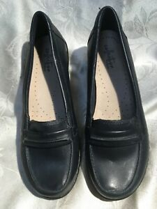 Clarks Collection Ashland Lily Women's New Navy Leather Loafers Size 8/39