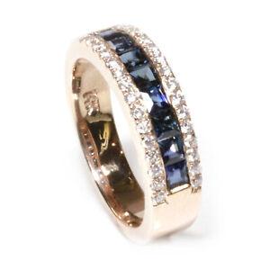 1.05 ct tw Natural Blue Sapphire & Diamond 14k Rose Gold Wedding Band Ring
