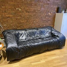 Vintage Ligne Roset Flou Flou Black Leather 3 Seater Sofa Authentic