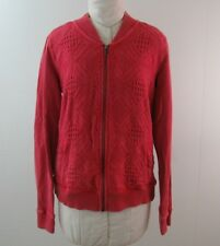 Lucky Brand Womens Faded Distressed Look Red Sweater Jacket Zip Size M