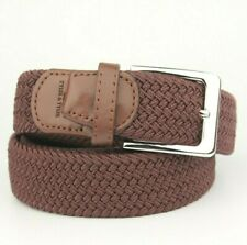 Tyler & Tyler Wine Brown Braided Woven Belt Leather End Trims 100cm (S/M)