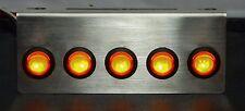 Rocker Switch Panel Yellow LED Plate Toggle SS 12V STAINLESS Bracket 5 light