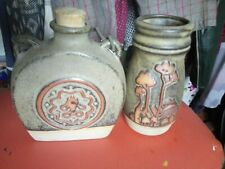 Two pieces vintage Tremar pottery vase & flask,VGC