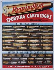 REMINGTON GUNS,SPORT CARTRIDGES ;ANTIQUE-STYLE METAL WALL SIGN 40X30cm/ SHOOTING