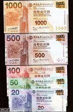 HONG KONG 20 50 100 50 1000 DOLLARS 2010 BOC CHINA Set COIN UNC MONEY 5 BANKNOTE