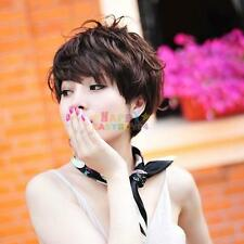 Hot Short Dark Brown Natural Curly Wavy Bangs Cosplay Women Hair Full Wig Wigs