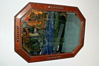 Antique bevelled mirror Edwardian oak frame beaded mouldings early 20th century