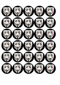30 x Cup Cake Edible Cake Topper Rice Paper V for Vendetta Hacker mask Halloween