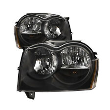 05-07 Jeep Grand Cherokee Black Halogen Headlights Pair Headlamps Set New