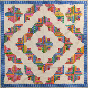 Log Cabin - Multi Colored, QUILT TOP -Barn Raising Pattern - Queen size