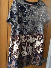 Laura Ashley Vestido Talla 18 Azul Floral Midi Ocasión Boda Verano