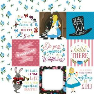 """Echo Park - Alice in Wonderland No. 2 - 4x4 JOURNAL CARDS - 12x12"""" d/sided paper"""