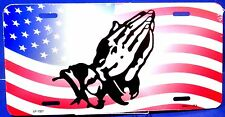 License Plate American  Flag with praying hands patriot New aluminum auto tag