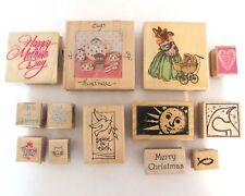 Lot 13 Mounted Rubber Stamps Hero Arts Stampendous Christmas Winter Baby Cat Etc