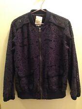 NWT size S Anthropologie lace floral oversized Elevenses Miranda Bomber Jacket